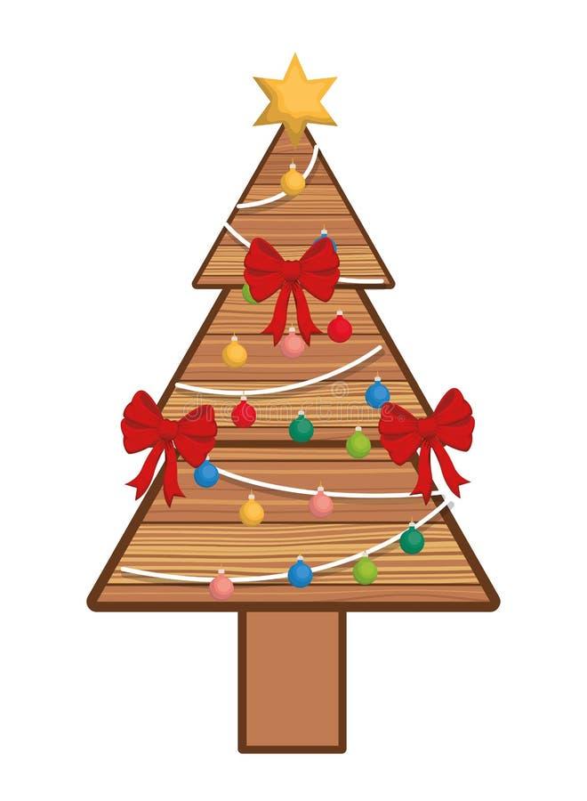 Weihnachtsbaum mit hängender Bälle lokalisierter Ikone lizenzfreie abbildung