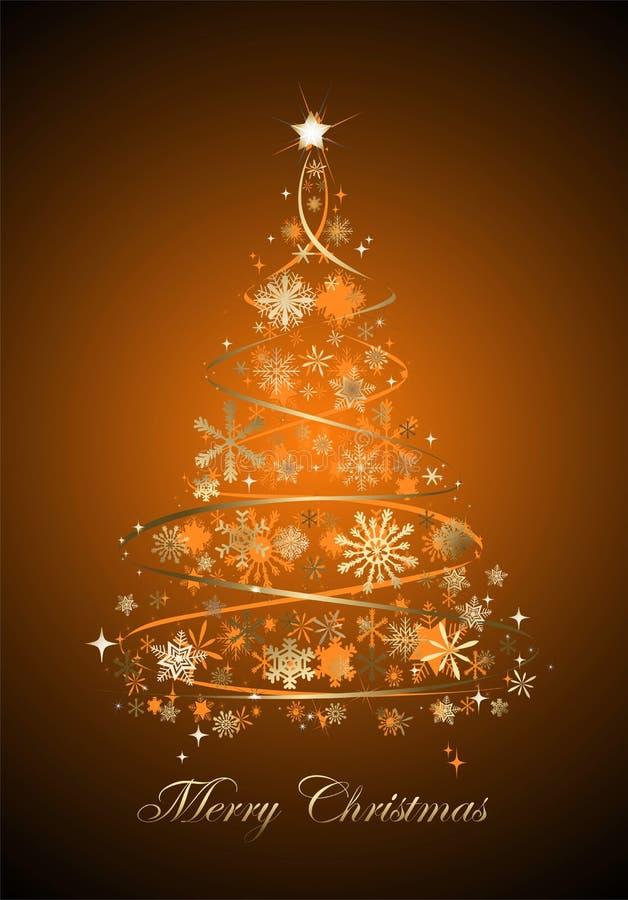 Weihnachtsbaum mit Orange und Verzierungen und Wünschen der frohen Weihnachten lizenzfreie abbildung
