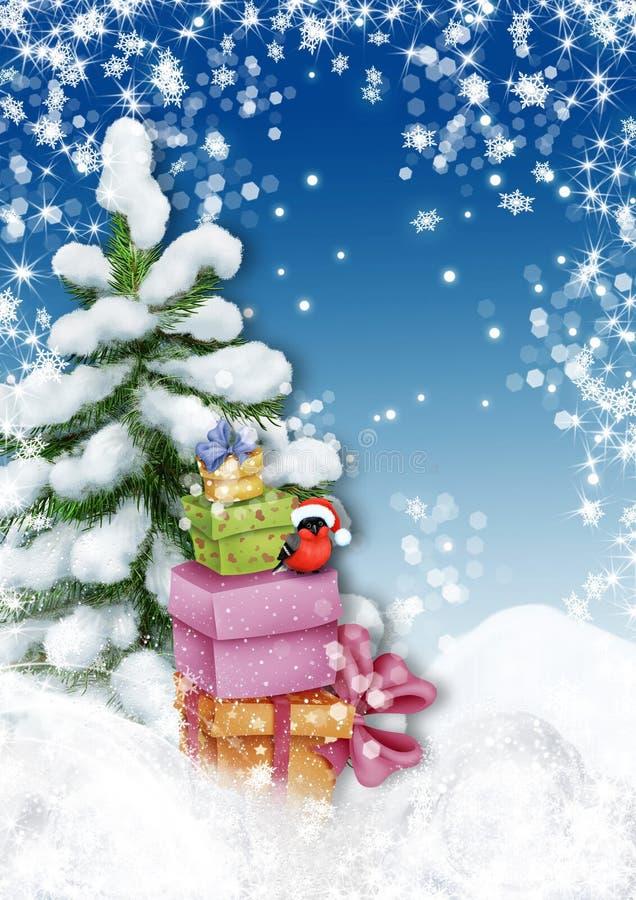 Weihnachtsbaum mit Präsentkartons und Dompfaff in Winter landsc stock abbildung