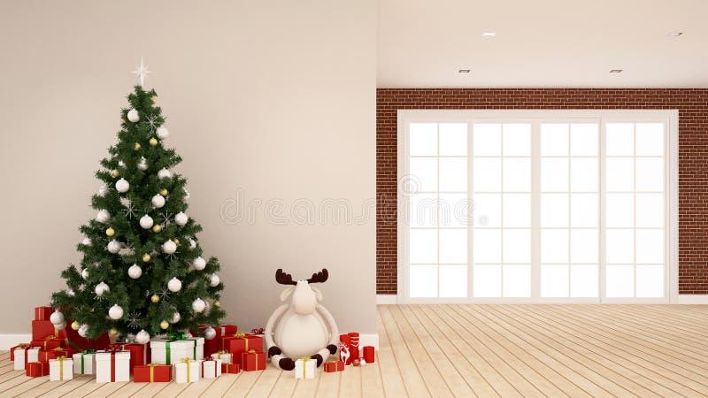 Weihnachtsbaum mit Renpuppe und -Geschenkbox im leeren Raum - Grafik für Weihnachtstag - Wiedergabe 3D lizenzfreie stockfotografie