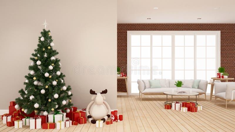 Weihnachtsbaum mit Renpuppe und -Geschenkbox im Wohnzimmer - Grafik für Weihnachtstag - Wiedergabe 3D stockbilder