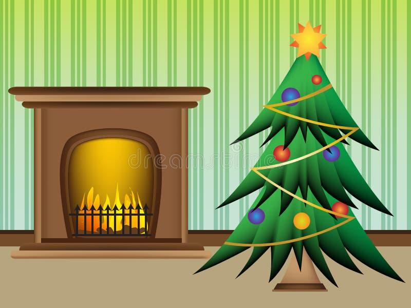 Weihnachtsbaum mit schönem warmem Kamin lizenzfreie abbildung
