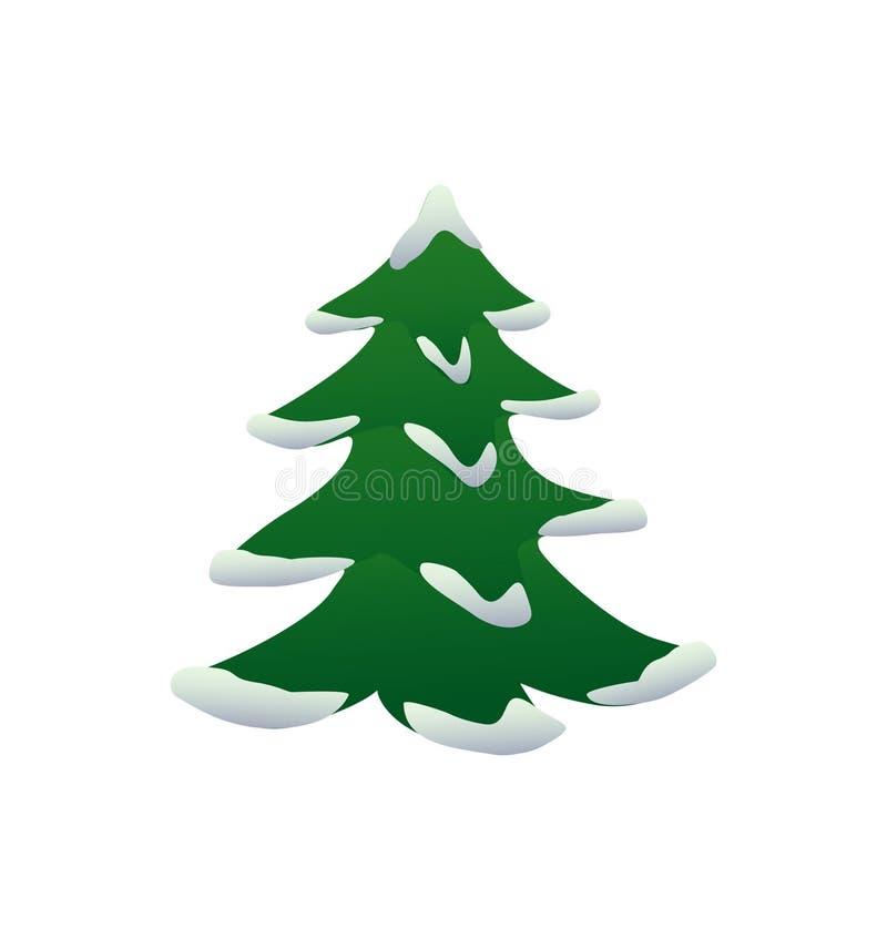 weihnachtsbaum mit schnee vektor abbildung illustration. Black Bedroom Furniture Sets. Home Design Ideas