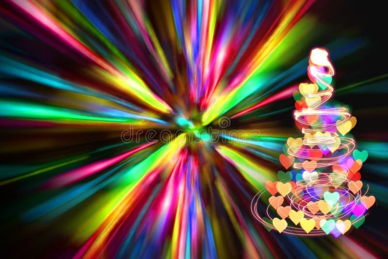 Weihnachtsbaum mit vielen Farben im dunklen nigt stock abbildung