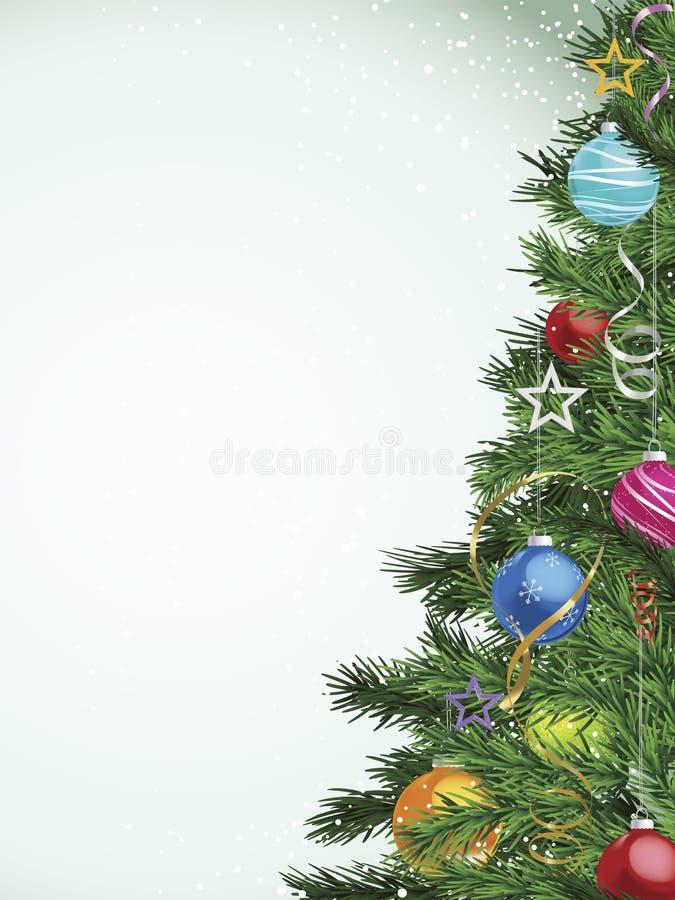 Weihnachtsbaum mit vielen farbigen Verzierungen stock abbildung