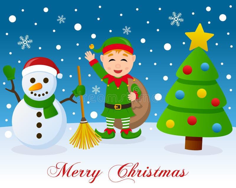 Weihnachtsbaum, netter Schneemann u. grüne Elfe vektor abbildung