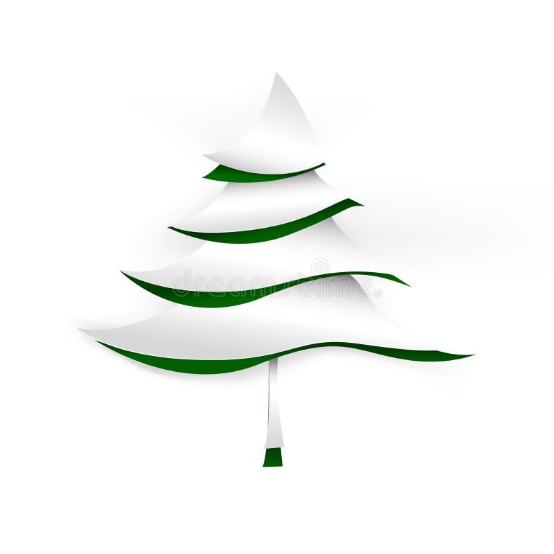 Weihnachtsbaum-Papierschnittart stock abbildung