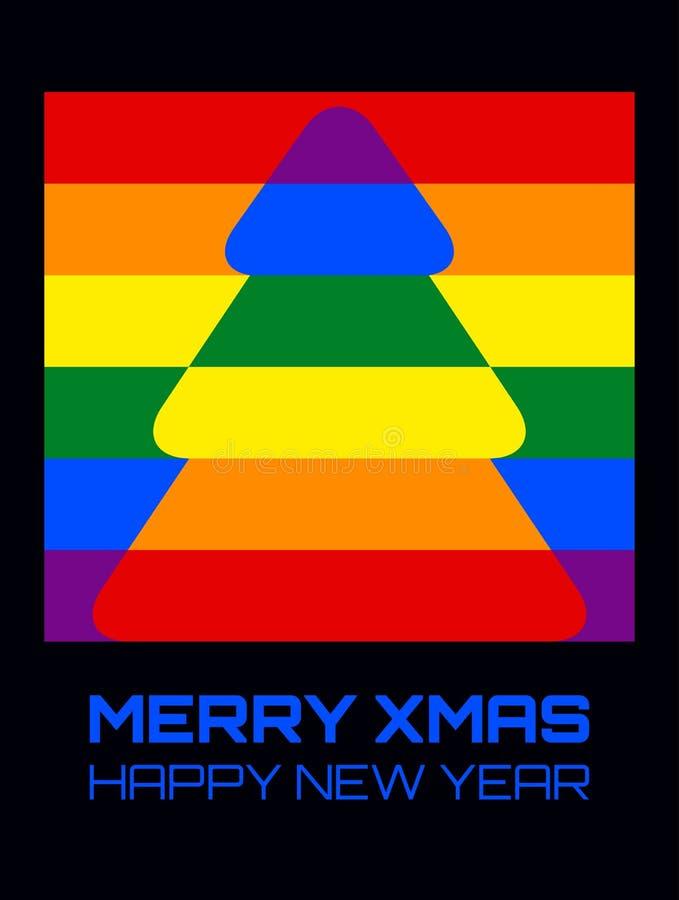 Weihnachtsbaum-Regenbogenfarben gerundet lizenzfreie abbildung