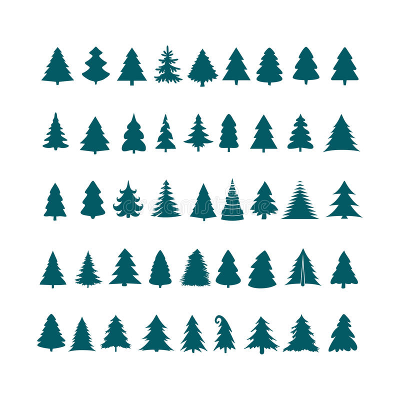 Weihnachtsbaum-Schattenbilddesign-Vektorsatz Konzeptbaumikone c stock abbildung