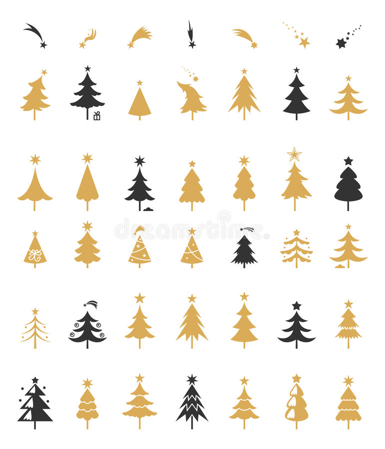 Weihnachtsbaum-Schattenbilddesignvektor lizenzfreie abbildung