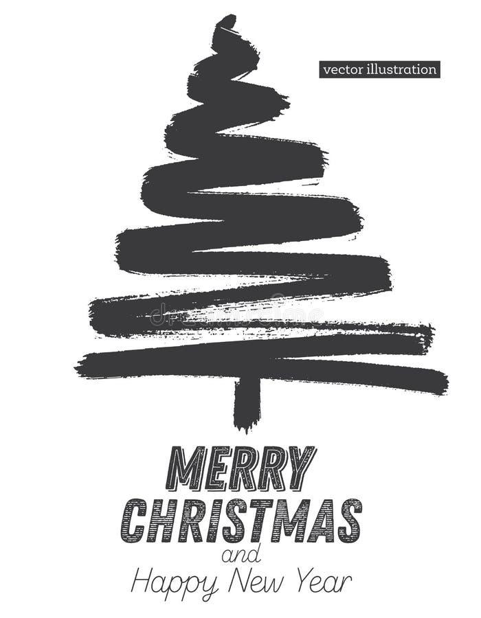 Weihnachtsbaum-Skizze lokalisiert auf weißem Hintergrund lizenzfreie abbildung