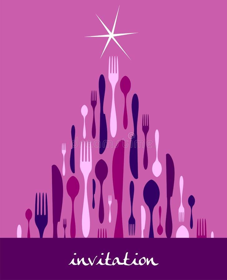 Weihnachtsbaum-Tischbesteck-Auslegung stock abbildung