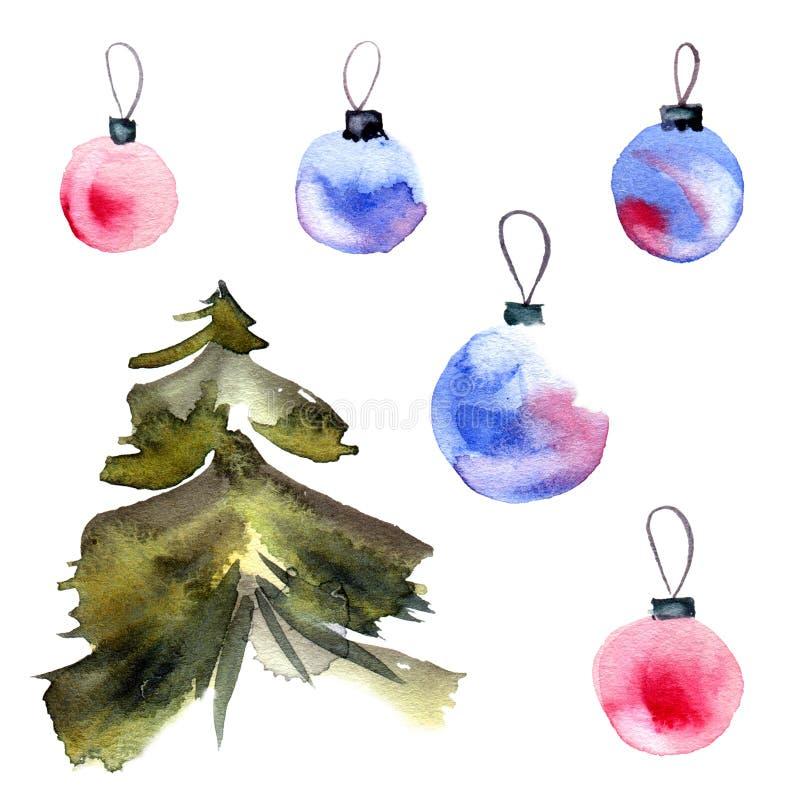 Weihnachtsbaum und cristmas Bälle lizenzfreie abbildung