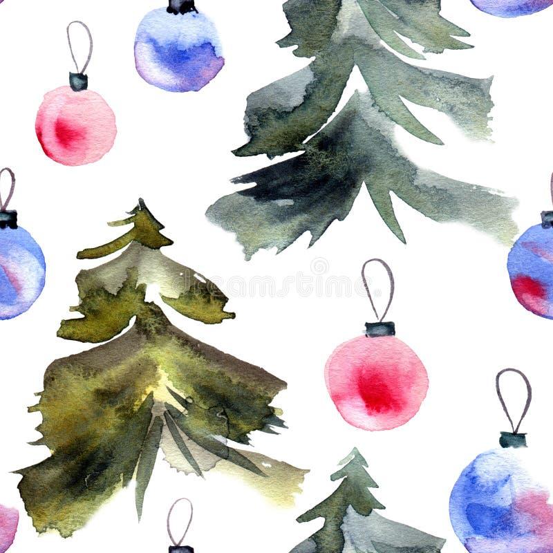 Weihnachtsbaum und cristmas Bälle stock abbildung