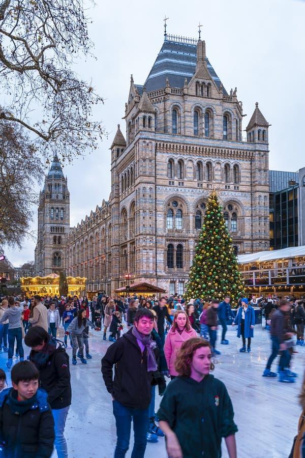 Weihnachtsbaum und Eislaufeisbahn außerhalb des Naturgeschichtliches Museums stockfotografie