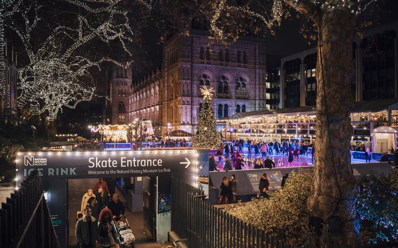 Weihnachtsbaum und Eislaufeisbahn nachts außerhalb des Naturgeschichtliches Museums lizenzfreie stockfotos