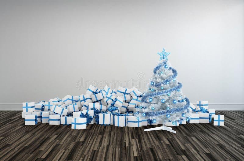 Weihnachtsbaum und Geschenke für eine große Familie stock abbildung