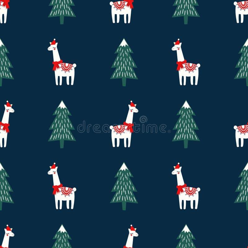 Weihnachtsbaum und nettes Lama mit nahtlosem Muster Weihnachtshutes auf dunkelblauem Hintergrund stock abbildung
