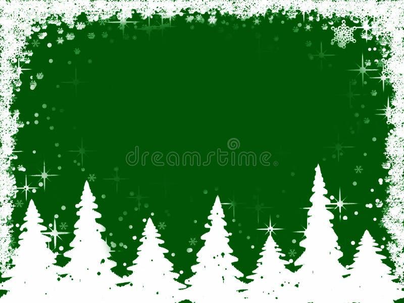Weihnachtsbaum- und Schneeflockefeld stock abbildung