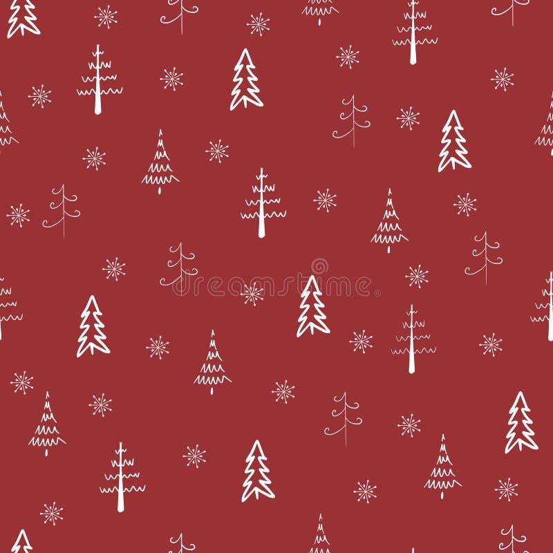 Weihnachtsbaum und Schneeflocken, nahtlos, Muster wiederholen Weiße Bäume und Schneeflocken im roten Hintergrund Doodle-Bäume, Ha stock abbildung