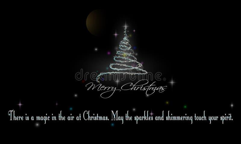 Weihnachtsbaum und Wörter von Klugheit auf schwarzem Hintergrund vektor abbildung