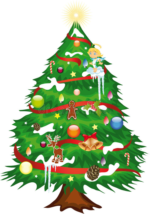 Weihnachtsbaum verziert lizenzfreie abbildung