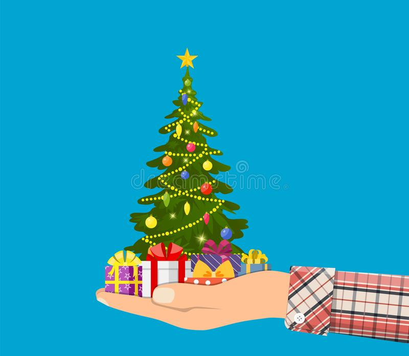 Weihnachtsbaum verziert mit bunten Bällen, vektor abbildung