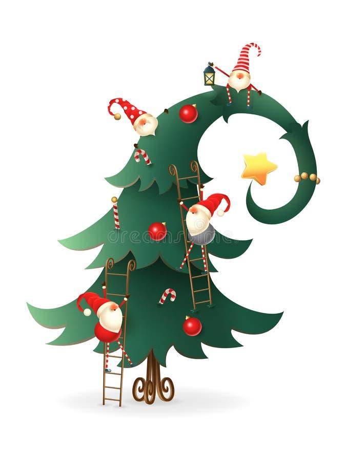 Weihnachtsbaum verziert mit skandinavischen Gnomen, die alle über Baum - transparenter Hintergrund klettern lizenzfreie abbildung