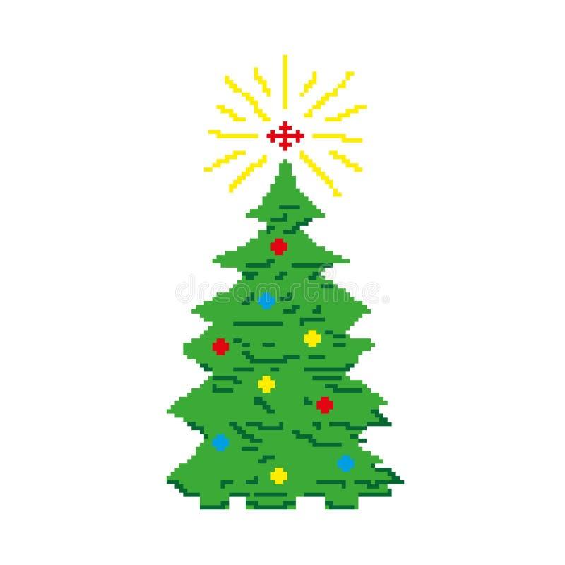 Weihnachtsbaum verziert mit Spielwaren und ein Stern, ein Tannenbaum gemalt mit Quadraten, Pixel glückliches neues Jahr 2007 Auch lizenzfreie abbildung