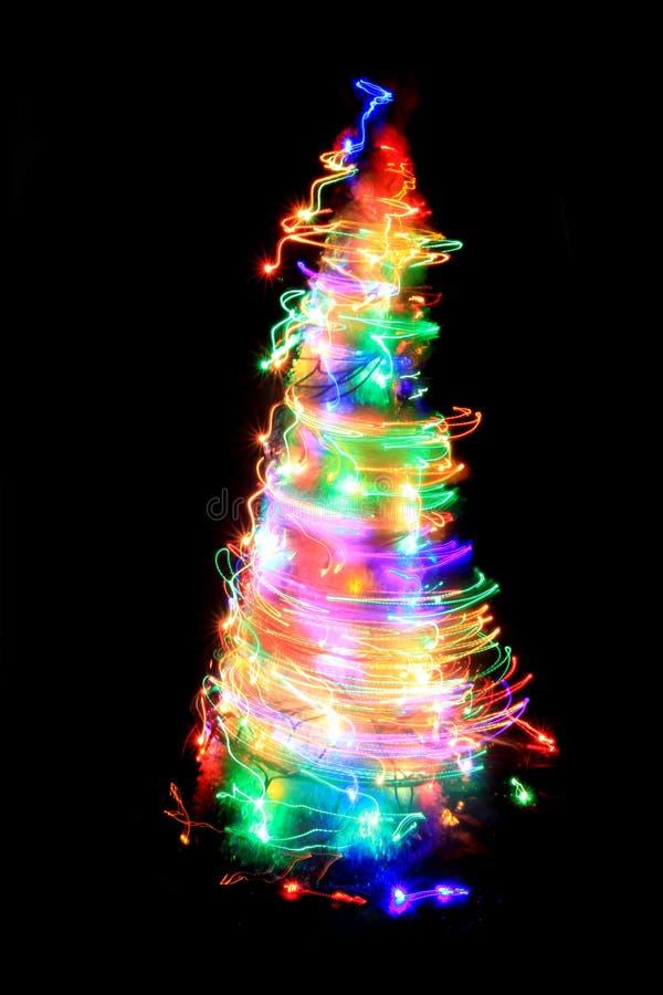 Weihnachtsbaum von den Farblichtern stockfotografie