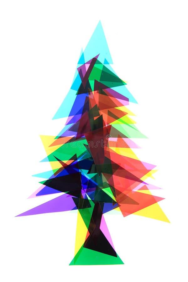 Weihnachtsbaum von den Farbplastikdreiecken stockfoto
