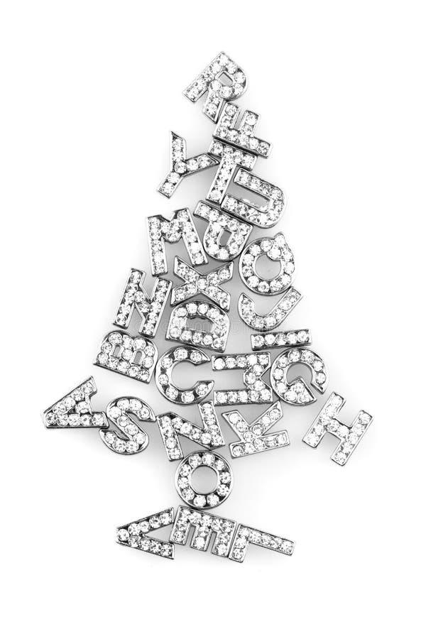 Weihnachtsbaum von den glänzenden Buchstaben lizenzfreie stockbilder