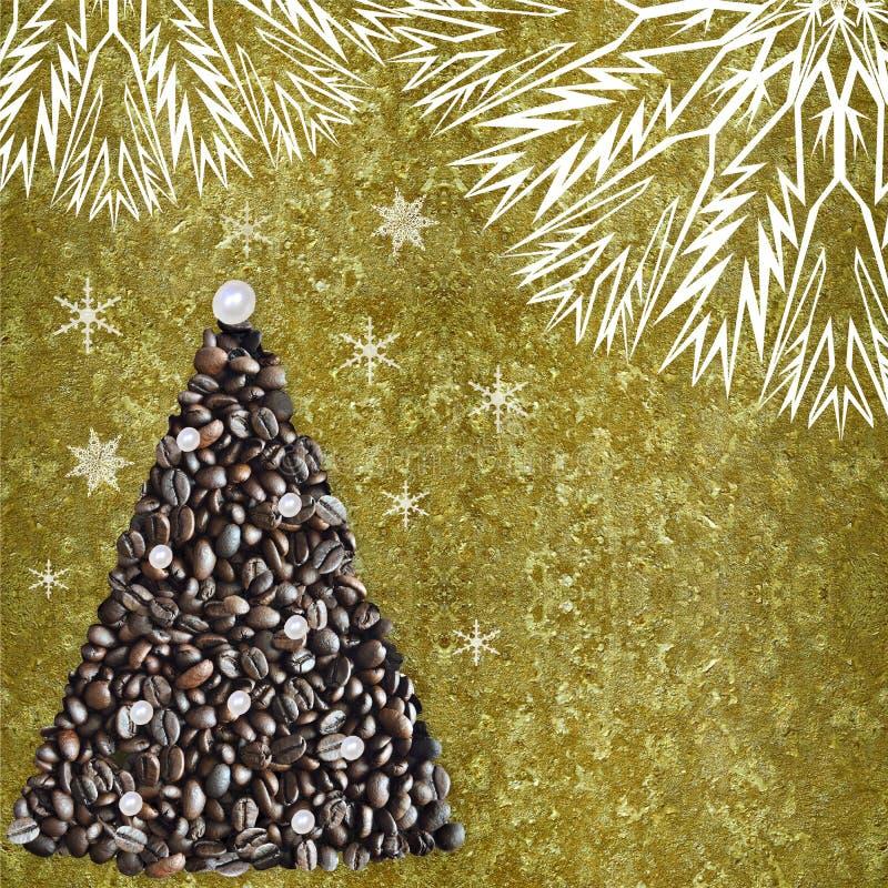 Weihnachtsbaum von den Kaffeebohnen auf metallischem Text der goldenen Weinlese lizenzfreie stockfotografie