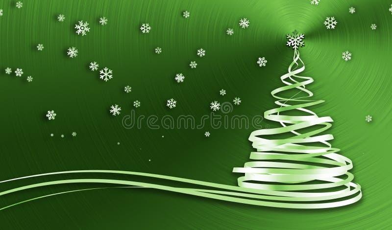 Weihnachtsbaum von den Weiß-Bändern und den Schneeflocken über grünem Metallhintergrund vektor abbildung