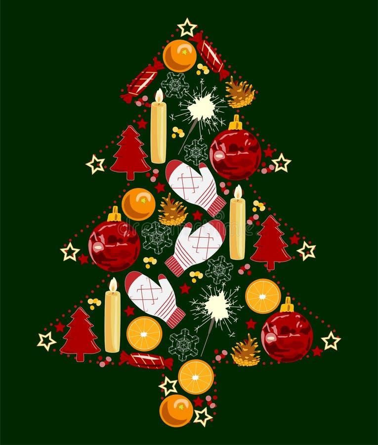 Weihnachtsbaum von Spielwaren, rot, gelb und grün, Vektorillustration lizenzfreie abbildung