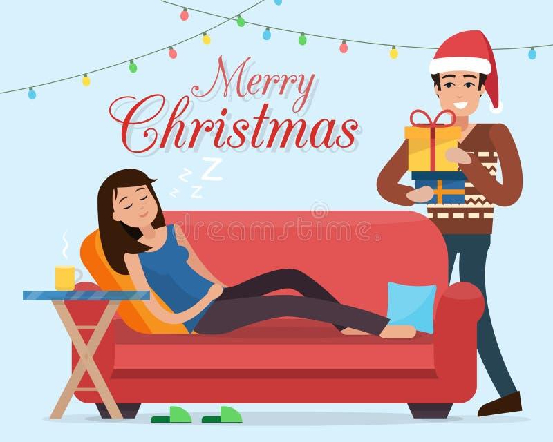 Weihnachtsbaum-warmes Haus Mann in Sankt-Hüten gibt Geschenke stock abbildung