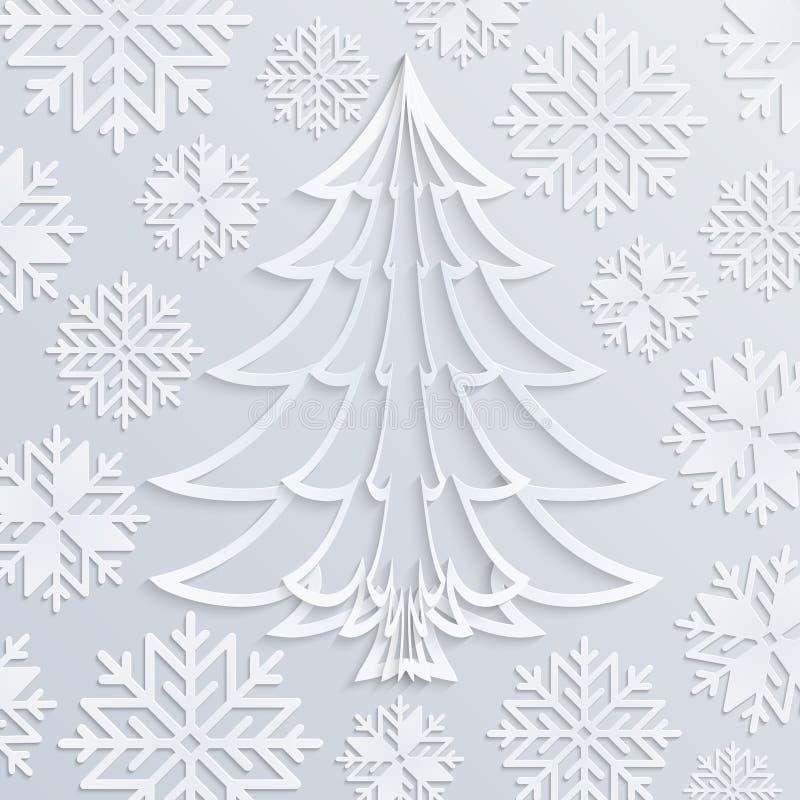 Weihnachtsbaum Weißbuch des Vektors mit Schneeflocken stock abbildung