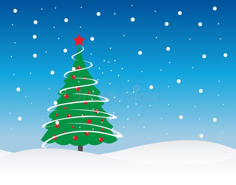 Weihnachtsbaum-Winterurlaub-Vektor-Illustration lizenzfreie stockfotos