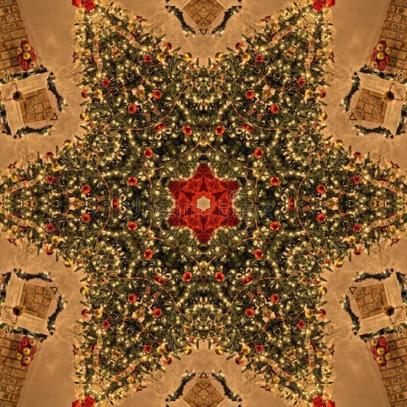 Weihnachtsbaum-Zusammenfassungs-Mandala Kaleidoscope-Beschaffenheit stockfotos