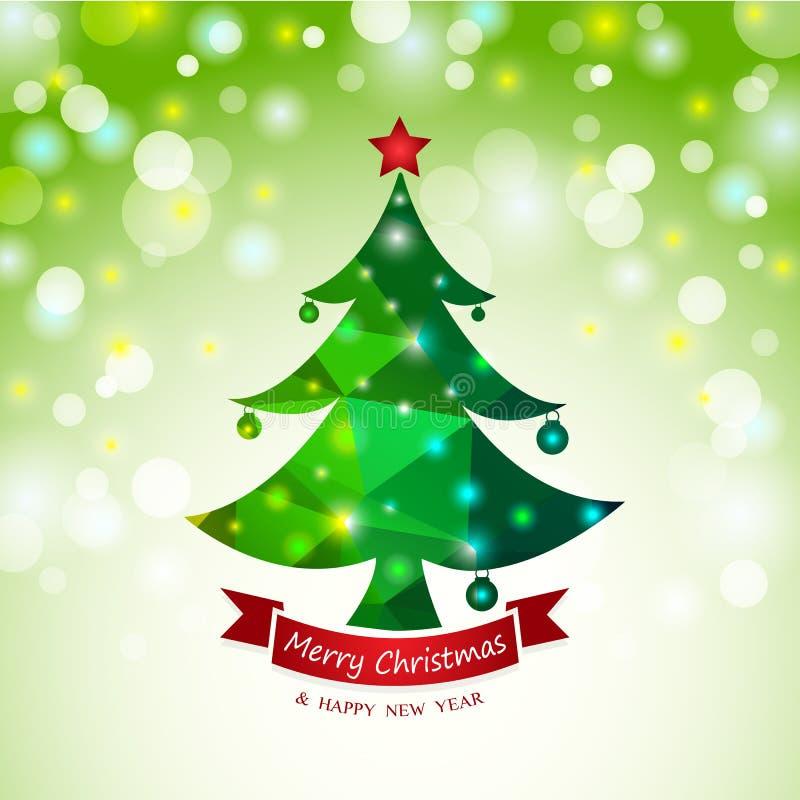 Weihnachtsbaum-Zusammenfassungskartenhintergrund vektor abbildung