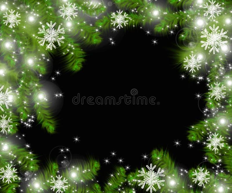 Weihnachtsbaumaste und -raum für Text Realistische Tannenbaumgrenze, Rahmen lokalisiert auf Schwarzem vektor abbildung