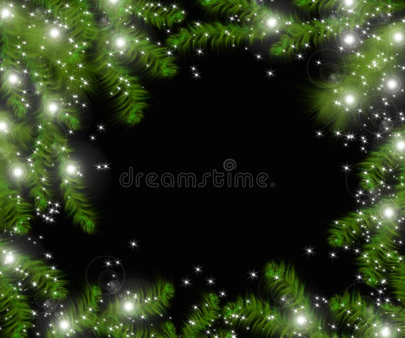 Weihnachtsbaumaste und -raum für Text Realistische Tannenbaumgrenze, Rahmen lokalisiert auf Schwarzem stock abbildung