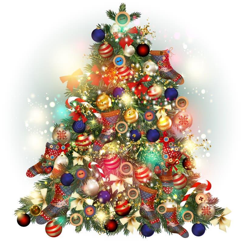 Weihnachtsbaumaufwändiges verziert durch Flitter, Schneeflocken, Socken B vektor abbildung