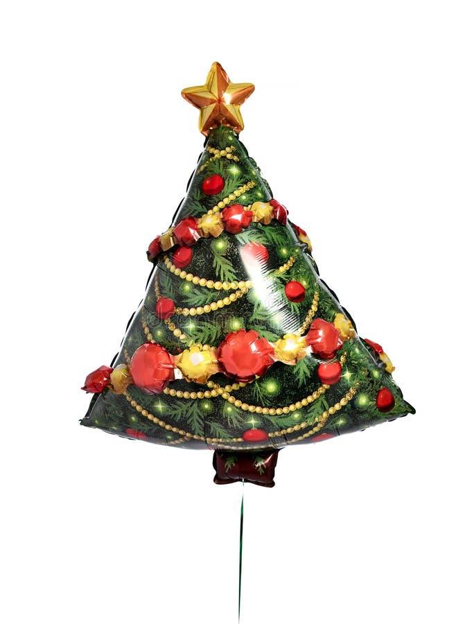 Weihnachtsbaumballon-Objekt mit goldsterngoldfarbenem Stern und verzierter Dekoration, auf weiß isoliert stockbilder