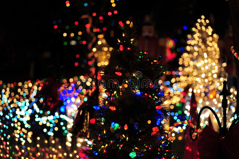Weihnachtsbaumbeleuchtung stockfotografie