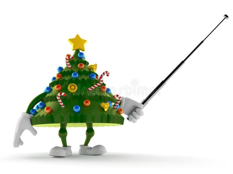 Weihnachtsbaumcharakter, der mit Zeigerstock zielt lizenzfreie abbildung