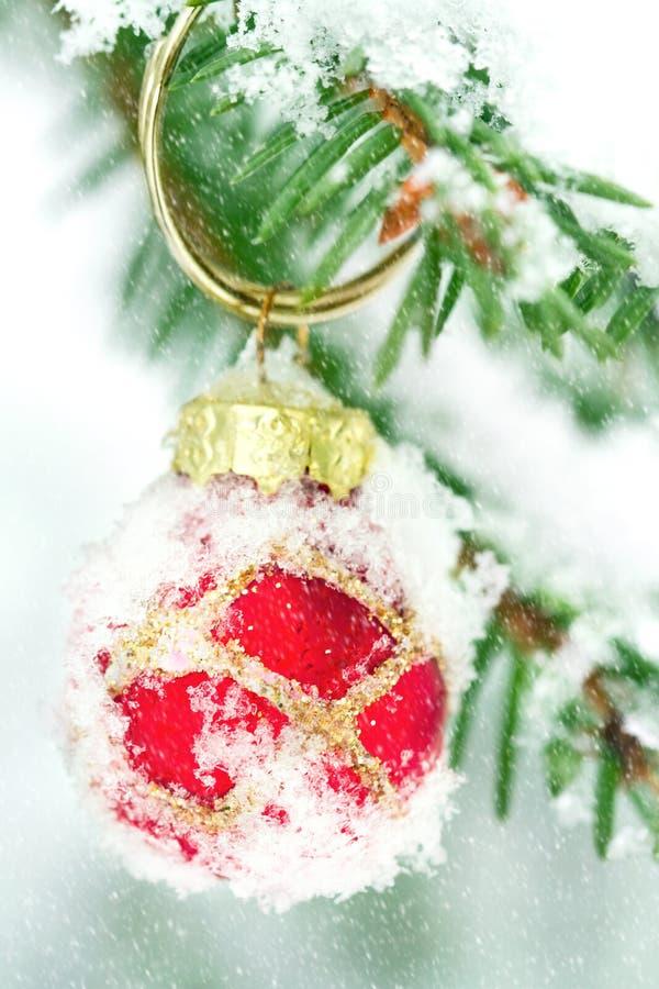 Weihnachtsbaumdekoration draußen im Winter stockbild