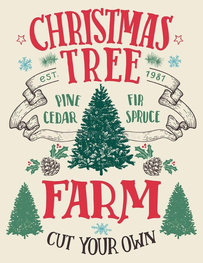Weihnachtsbaumfarm-Weinlesezeichen lizenzfreie abbildung
