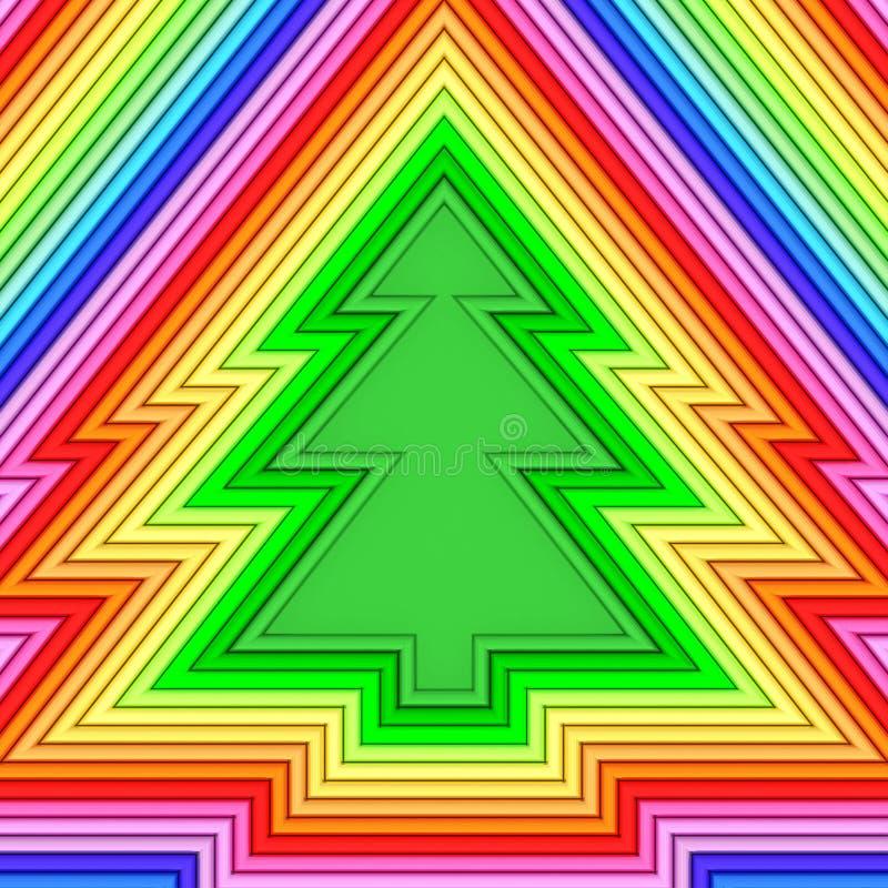 Weihnachtsbaumform bestanden aus bunten metallischen Rohren vektor abbildung