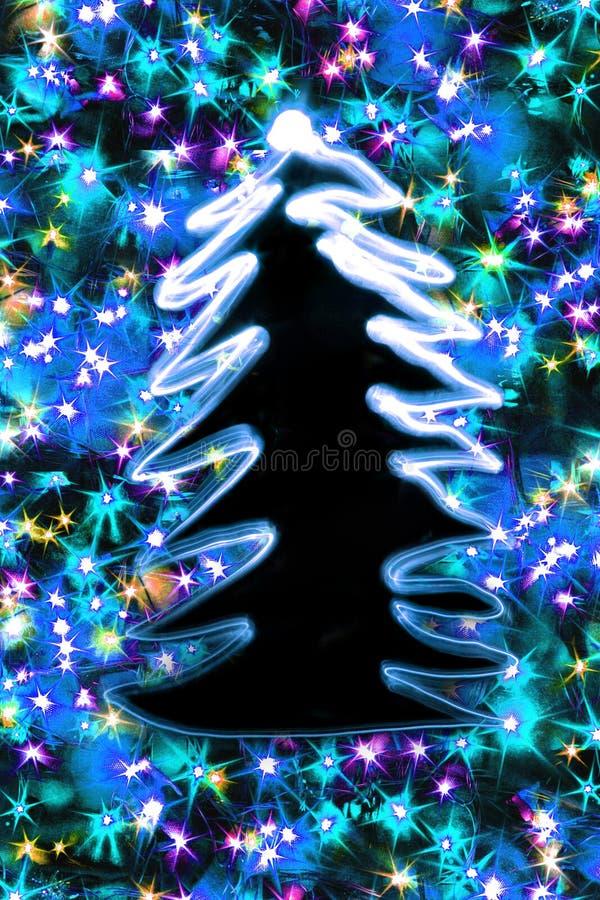 Weihnachtsbaumform die Farbweihnachtslichter vektor abbildung